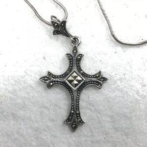 Vintage Sterling Silver Marcasite Cross Pendant